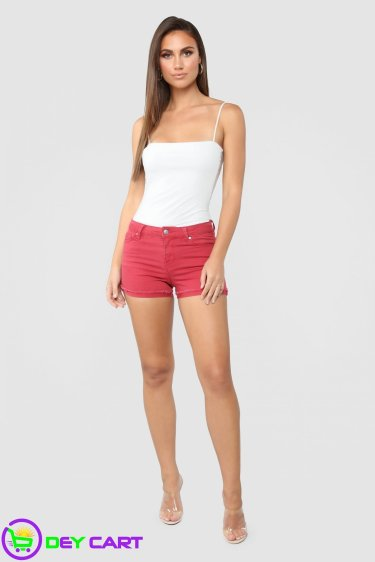Belted High Rise Shorts - Red 0
