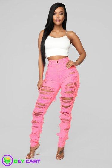 High Rise Destruction Skinny Jeans - Pink 1
