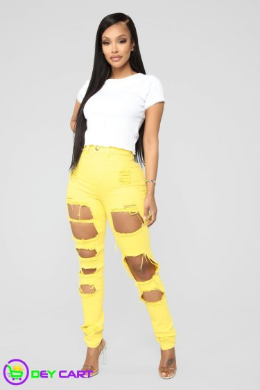 High Rise Distressed Skinny Jeans - Yellow 0