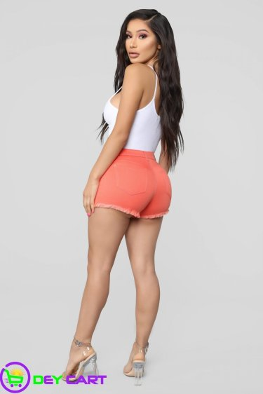 Belted High Rise Shorts - Red 1