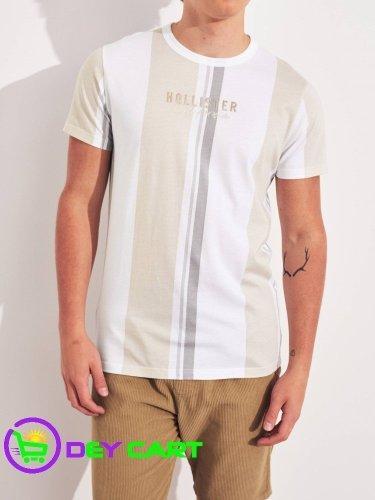 Hollister Stripe Logo Graphic Tee - Tan 0