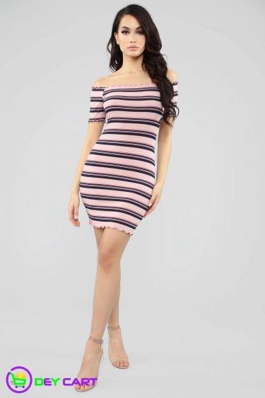 Off Shoulder Striped Ribbed Mini Dress - Mauve Combo 0