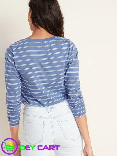 Old Navy Striped V-Neck Long-Sleeve Tee - Blue Stripe 1