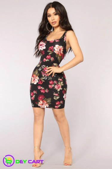 Sleeveless Floral Dress - Black 0