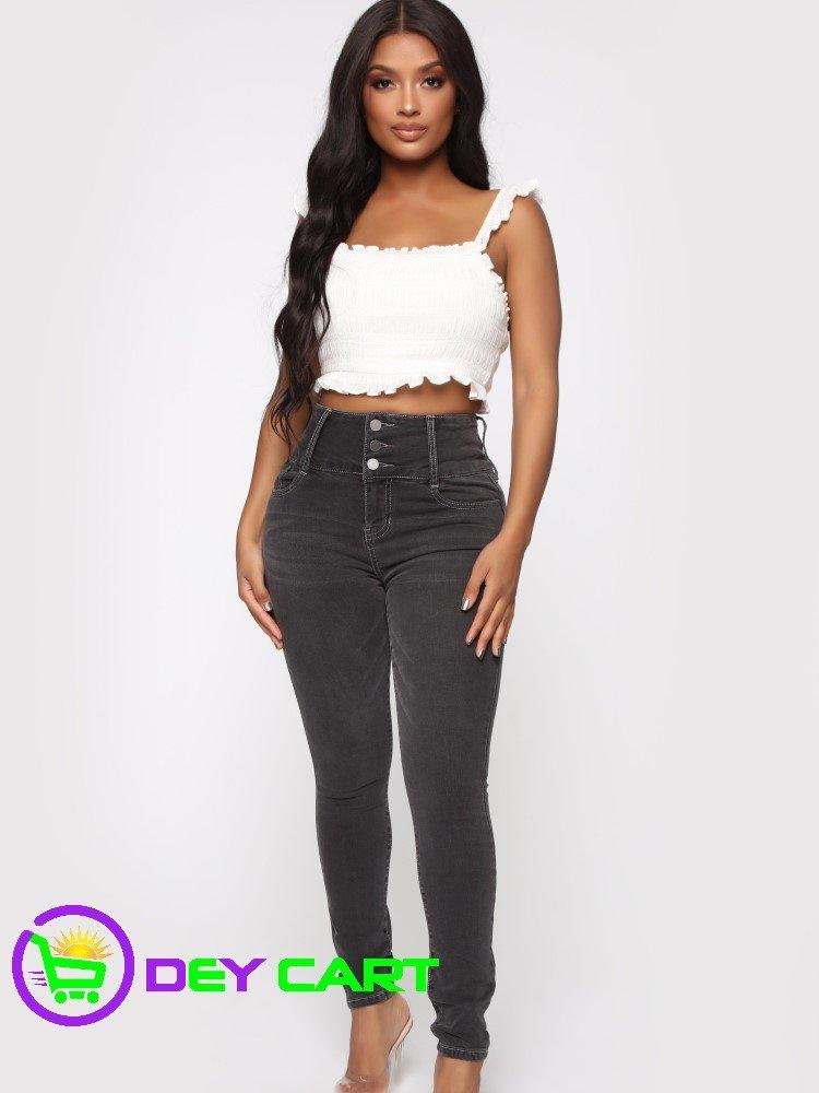 Fashion Nova 3 Button High Rise Skinny Jeans - Charcoal 0