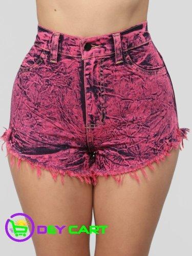 Fashion Nova Acid Wash High Rise Denim Shorts - Neon Pink