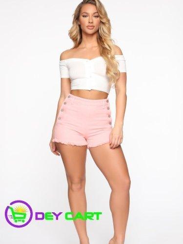 Fashion Nova Button Closure High Rise Shorts - Pink 0