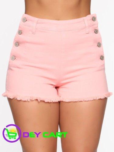 Fashion Nova Button Closure High Rise Shorts - Pink