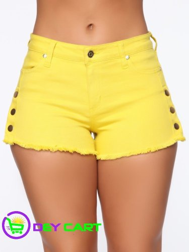Fashion Nova Button Detail High Rise Short - Mustard 0