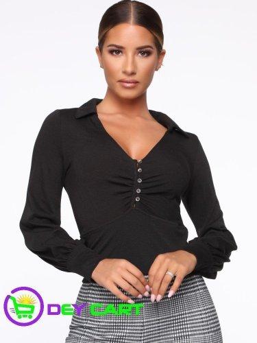 Fashion Nova Collared Button Down Top - Black 0