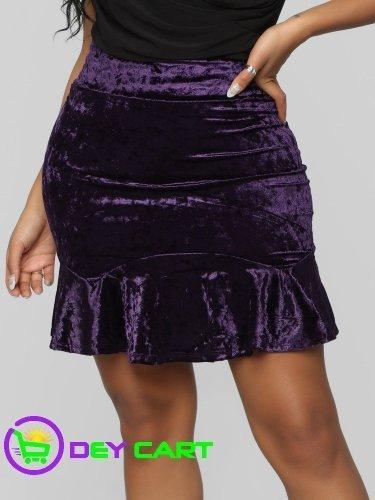 Fashion Nova Crushed Velvet Flounce Skirt - Plum 0