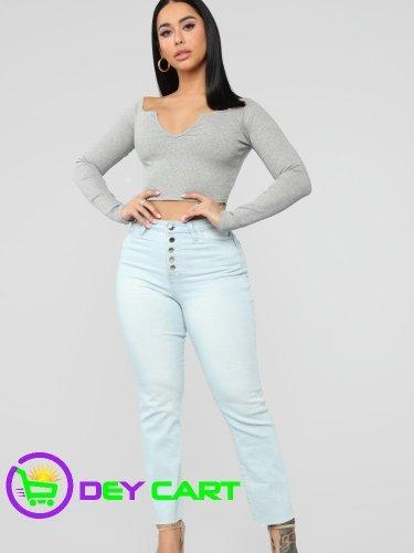 Fashion Nova Exposed Button High Rise Mom Jeans - Light Blue Wash 0