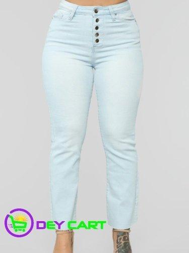 Fashion Nova Exposed Button High Rise Mom Jeans - Light Blue Wash