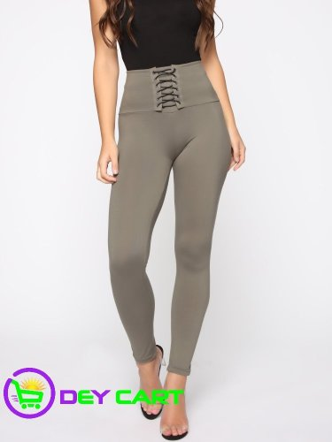 Fashion Nova Front Lace Up Detail Leggings - Olive 0