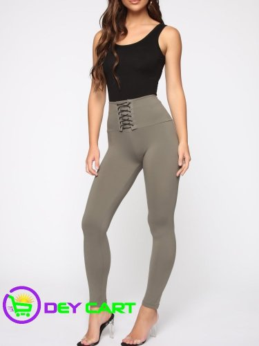 Fashion Nova Front Lace Up Detail Leggings - Olive