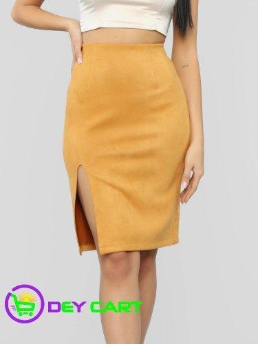 Fashion Nova Front Slit Faux Suede Skirt - Mustard