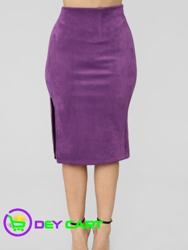 Fashion Nova Front Slit Faux Suede Skirt - Plum 0