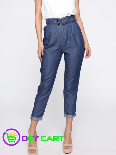 Fashion Nova High Rise Belted Pants - Blue Dark Wash 0