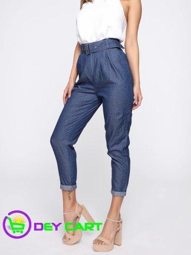 Fashion Nova High Rise Belted Pants - Blue Dark Wash