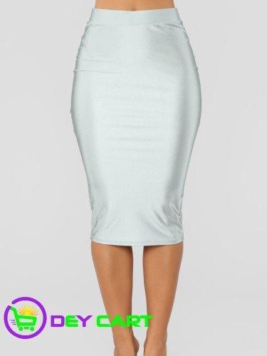 Fashion Nova High Rise Bodycon Skirt - Silver 0