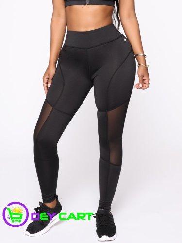 Fashion Nova Mesh Detail Leggings - Black 0