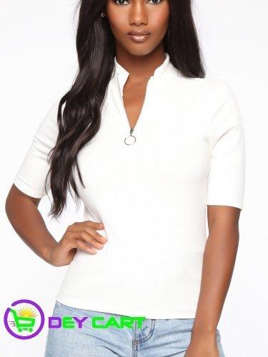 Fashion Nova Mock Neck Zipper Top - White 0