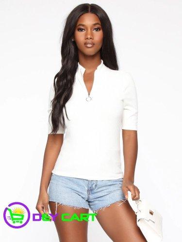 Fashion Nova Mock Neck Zipper Top - White
