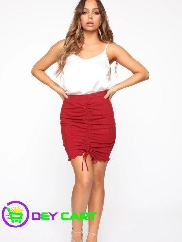 Fashion Nova Ruched Front Mini Skirt - Red