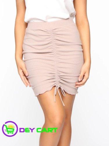 Fashion Nova Ruched Front Mini Skirt - Taupe 0