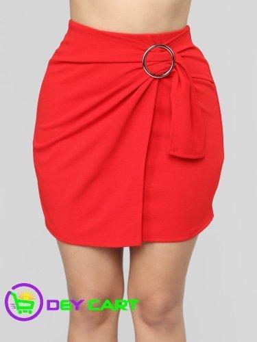 Fashion Nova Side Belt Closure Mini Skirt - Red 0