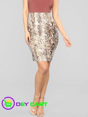 Fashion Nova Snake Print High Rise Midi Skirt - Tan/Multi 0