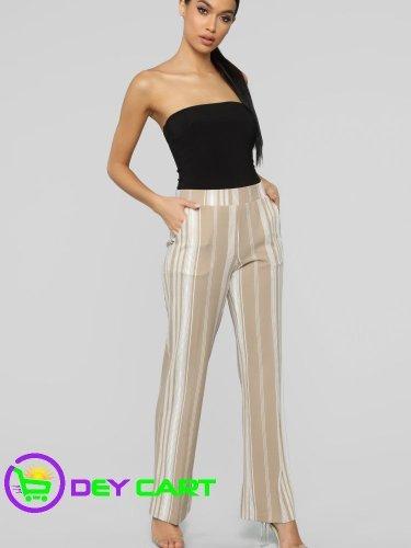 Fashion Nova Striped Flare Pants - Sand/Ivory 0