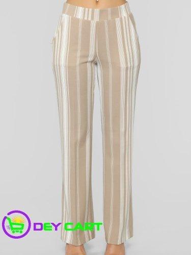 Fashion Nova Striped Flare Pants - Sand/Ivory