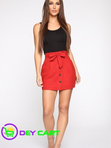 Fashion Nova Tie Waist Linen Skirt - Rust