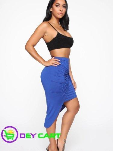 Fashion Nova Twist Knot Midi Skirt - Royal Blue