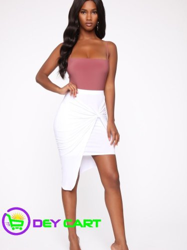 Fashion Nova Twist Knot Midi Skirt - White
