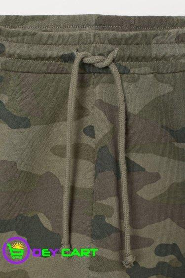 H&M Camo Patterned Sweatshorts - Khaki Green 0