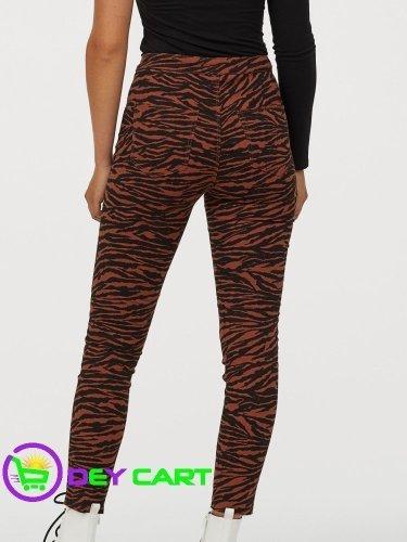 H&M High Waist Twill Pants - Brown Tiger Striped 1