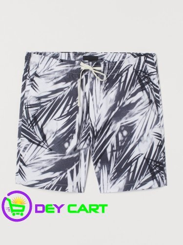 H&M Relaxed Fit Cotton Shorts - White/Grey patterned