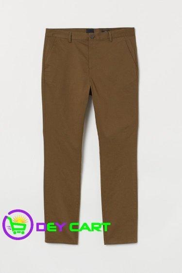 H&M Slim Fit Cotton Chinos - Khaki Green 0