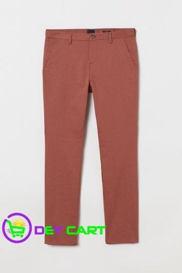 H&M Slim Fit Cotton Chinos - Rust Brown 0