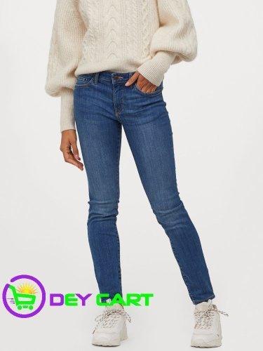 H&M Super Skinny Low Jeans - Denim Blue 0