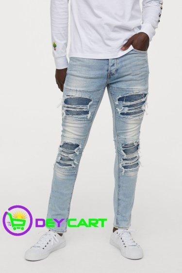 H&M Trashed Skinny Jeans - Light Blue Denim 0