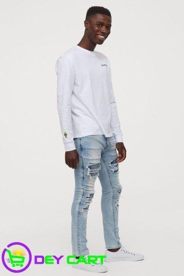 H&M Trashed Skinny Jeans - Light Blue Denim 00