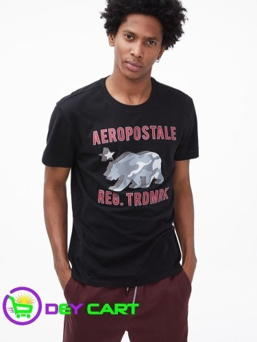Aeropostale 3D Camo Bear Logo Graphic Tee - Black