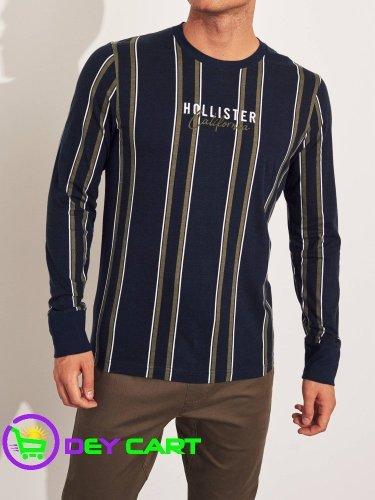 Hollister Stripe Logo Long Sleeve Graphic Tee – Navy/Multi 0