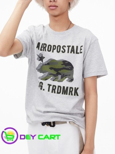 Aeropostale 3D Camo Bear Logo Graphic Tee - Heather Grey 0