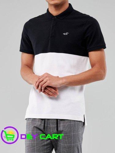 Hollister Shrunken-Collar Colorblock Polo - Black and White 0
