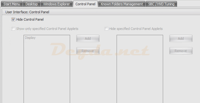 Policies and Profiles Environmental Settings Control Panel