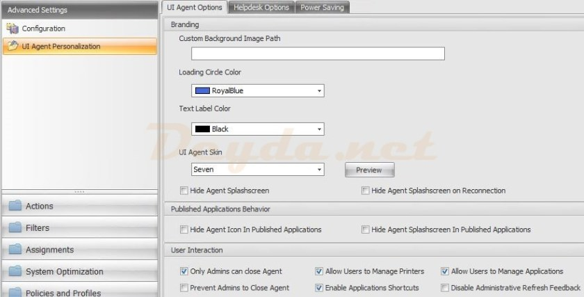 Advanced Settings Configuring UI Agent Personalization UI Agent Options
